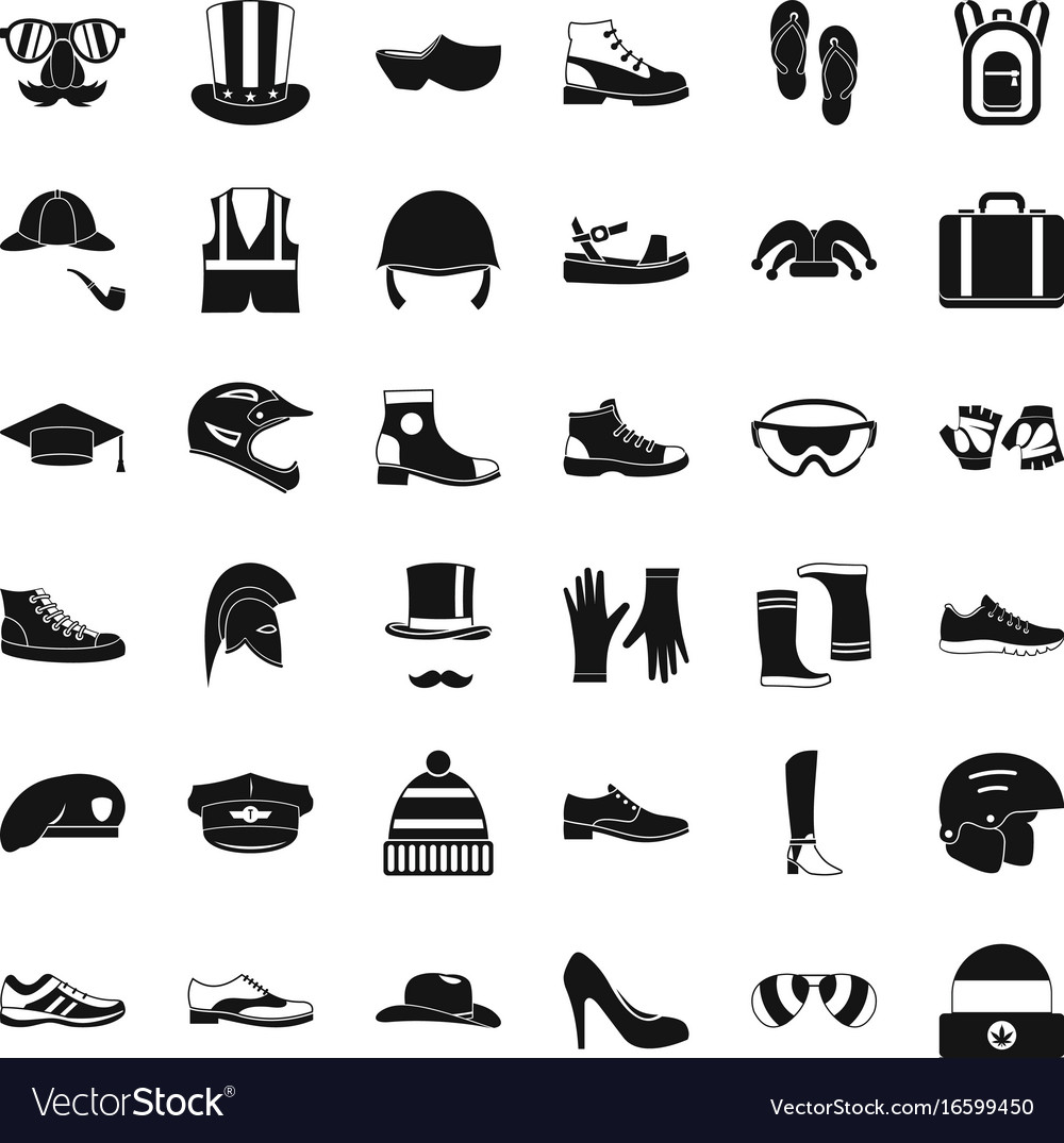 Fashion clothes icons set simple style vector image