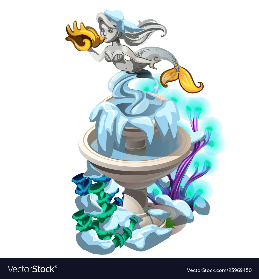 Frozen fancy fountain with a stone mermaid with