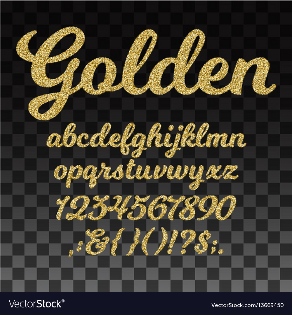 Gold glitter font golden alphabet with vector image
