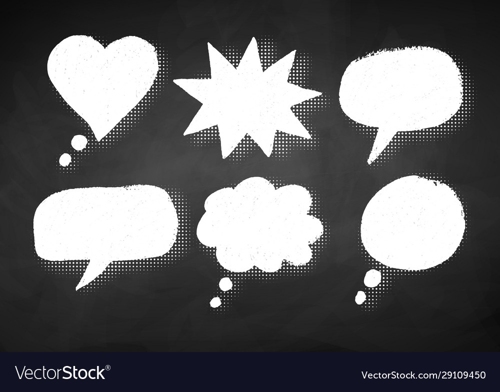 Grunge chalk drawn speech bubbles