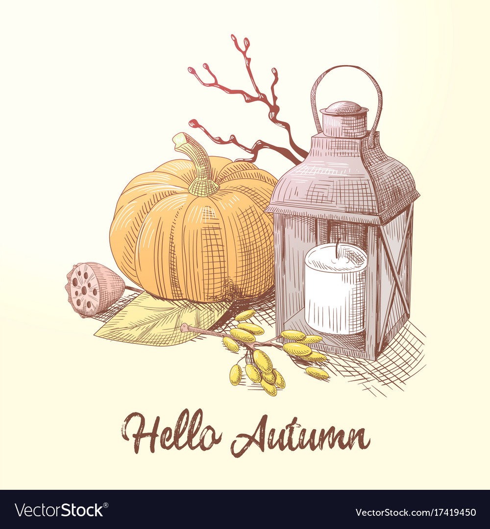 Hello autumn composition with pumpkin and candle