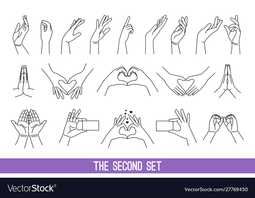 Linear women hands gestures