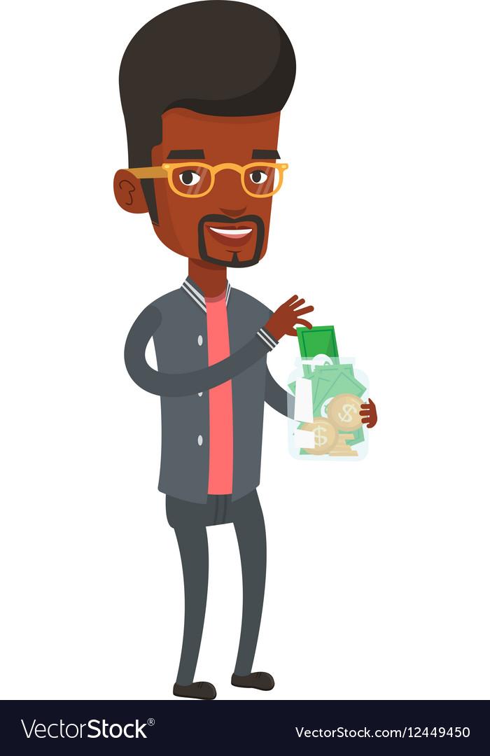Man putting dollar money into glass jar vector image