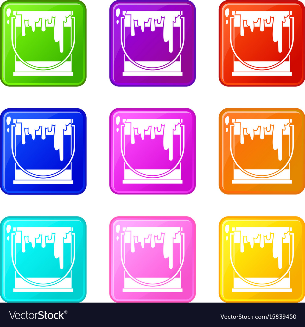 Paint can icons 9 set vector image