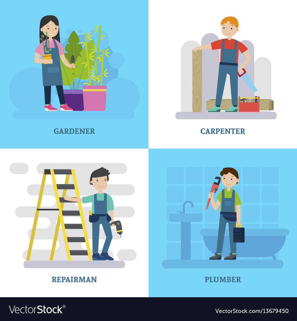 Professional workers square concept vector image
