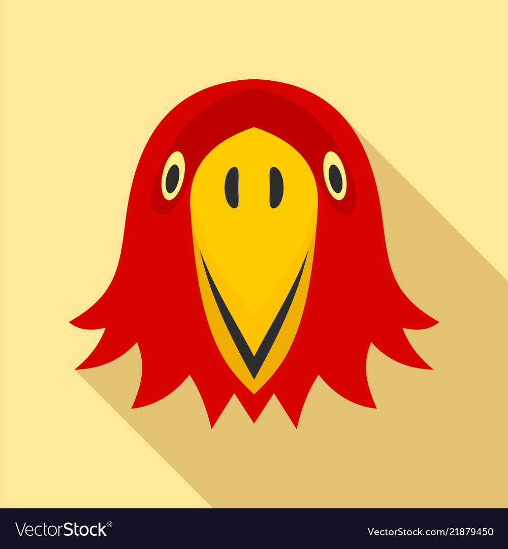 Red parrot head icon flat style