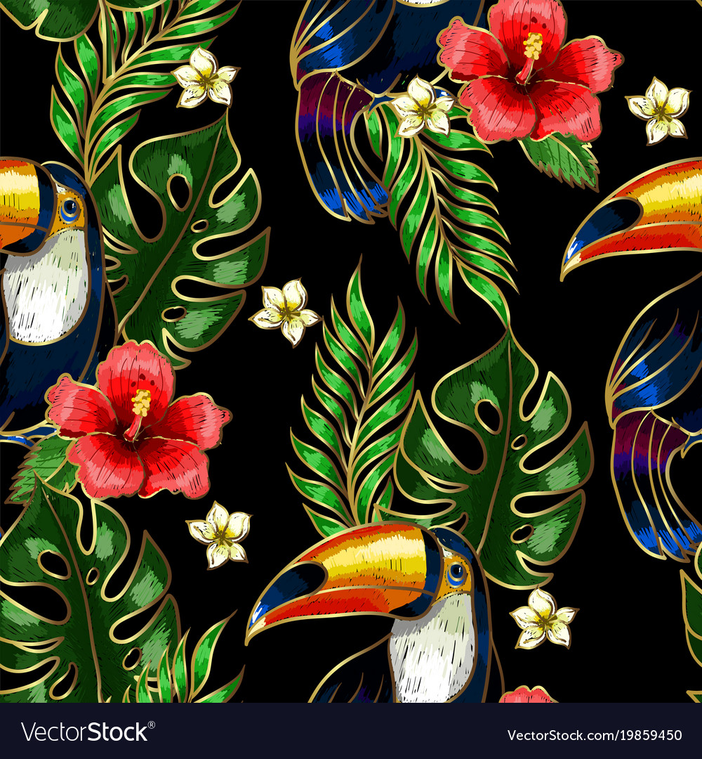 Seamless pattern of toucan embroidery