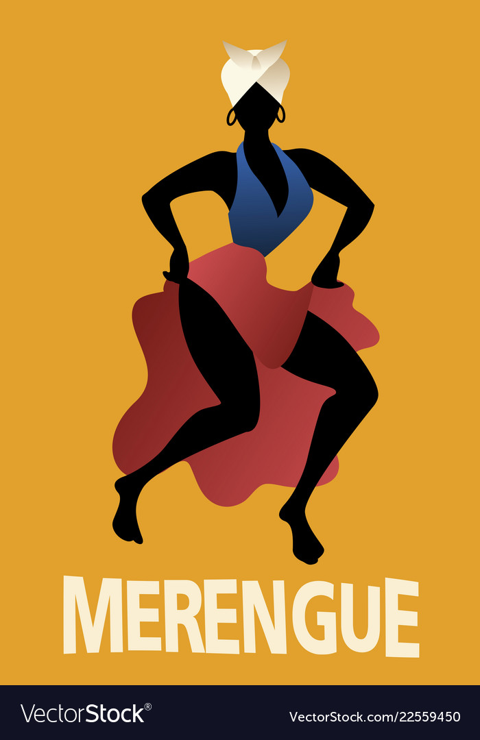 Silhouette of woman dancing latin music merengue