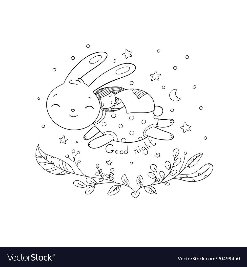 Sleeping cartoon girl and bunny vector image