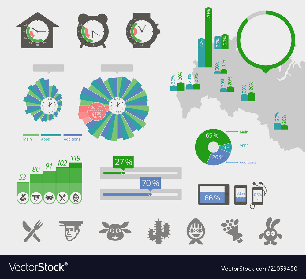 Universal infographics clock map circle diagrams