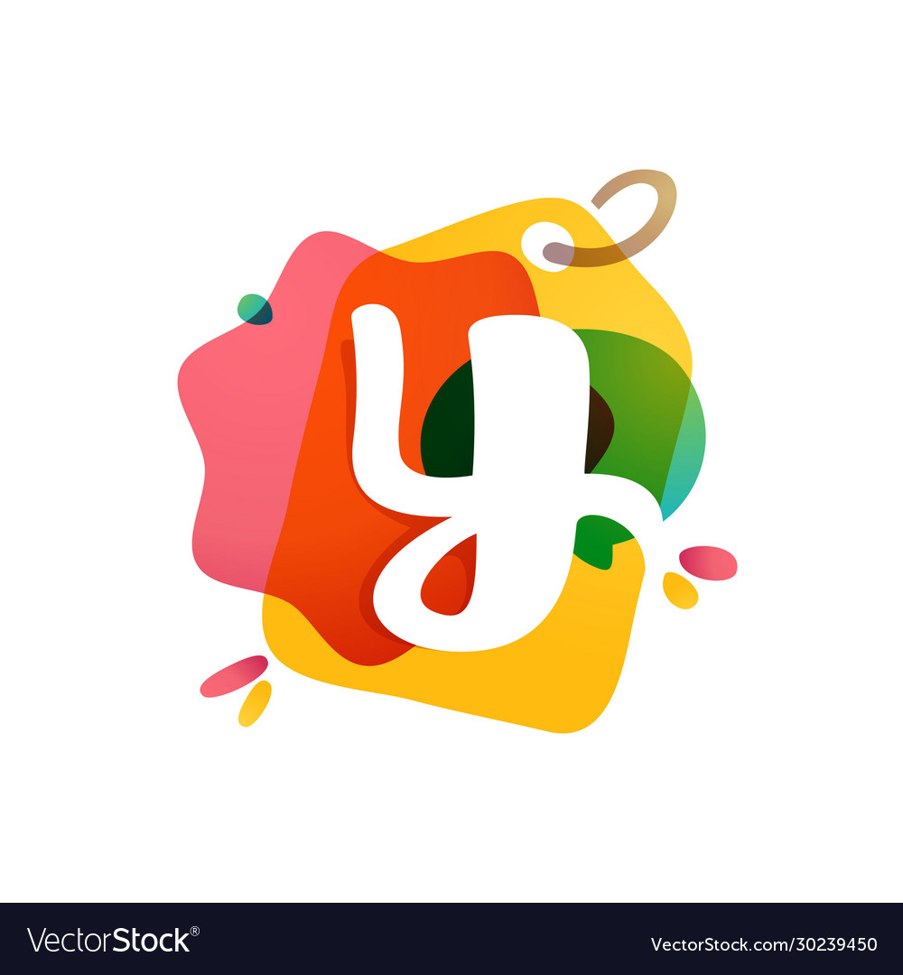 Y letter logo with sale tag icon watercolor