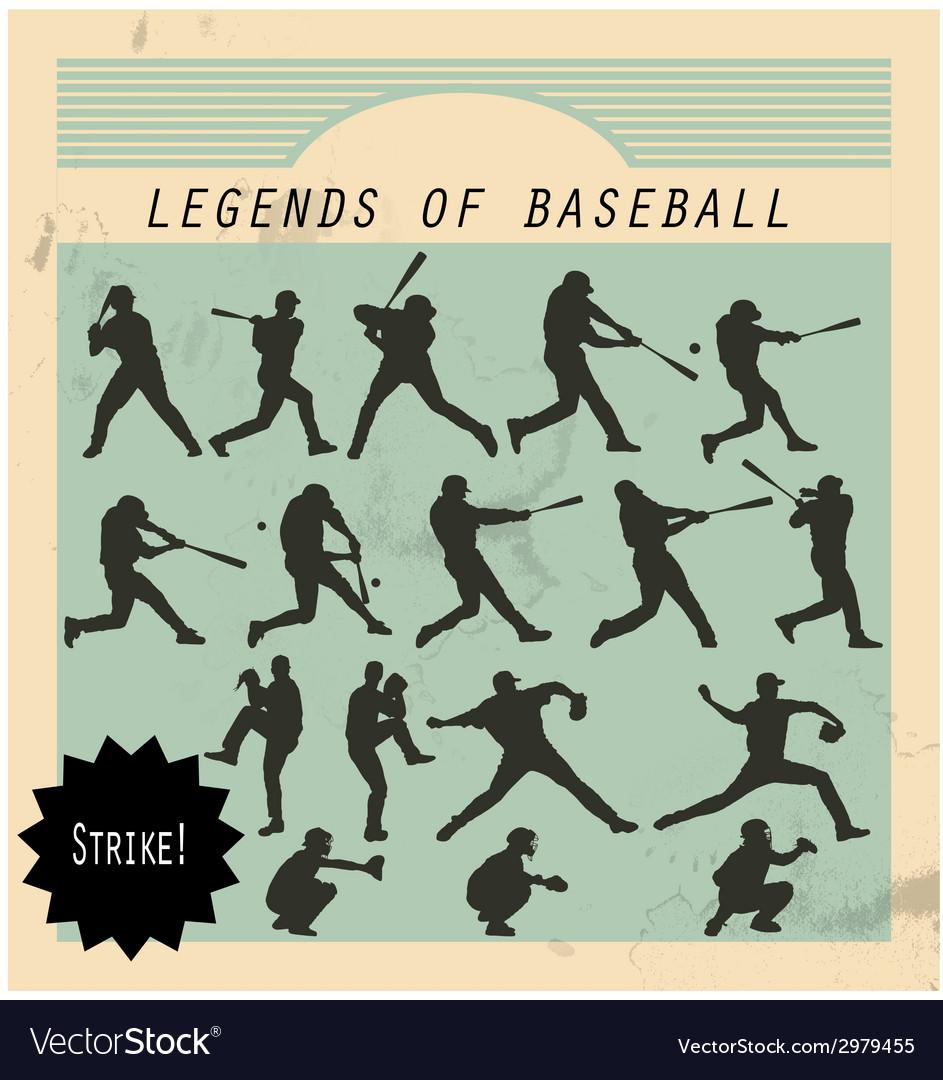 Ballplayer - silhouettes of baseball players on