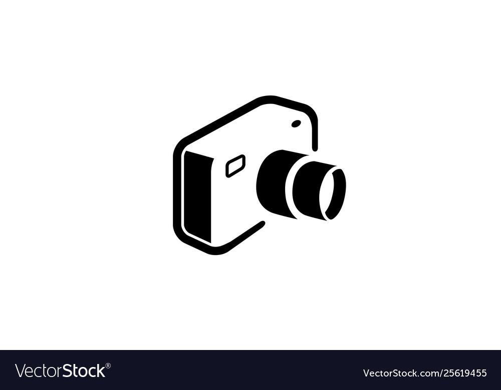 Creative black camera logo design symbol