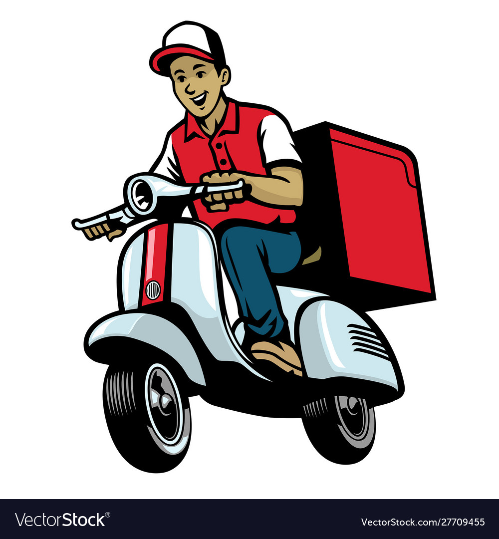 dalivery service worker riding vintage scooter vector image vectorstock