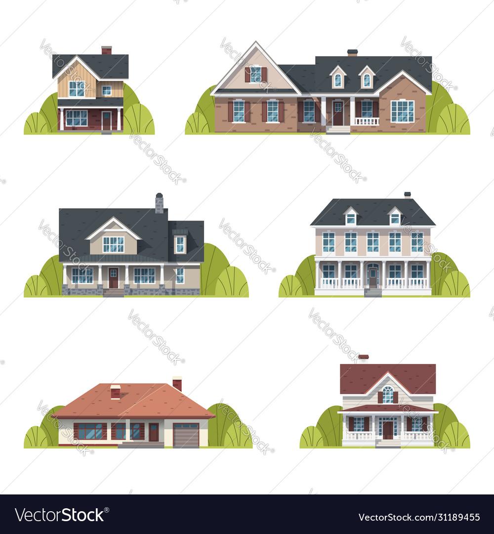 Houses set suburban american houses exterior flat