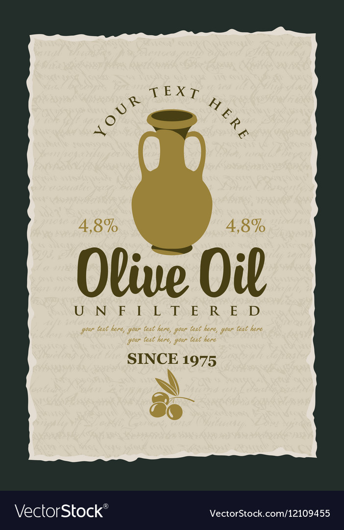 Label for olive oil with a clay jug