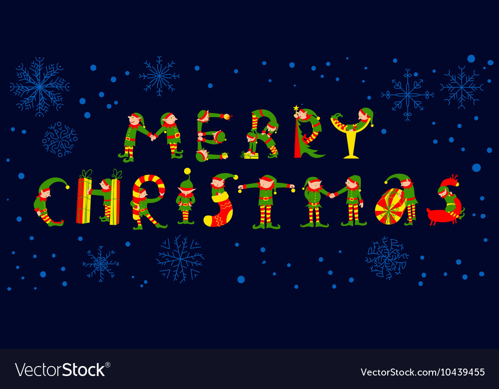 Merry Christmas lettering with elves