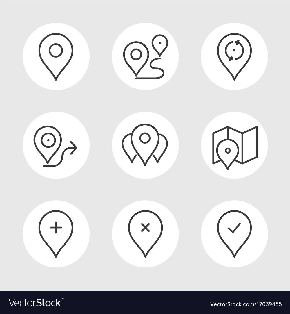 Navigation pin line icons