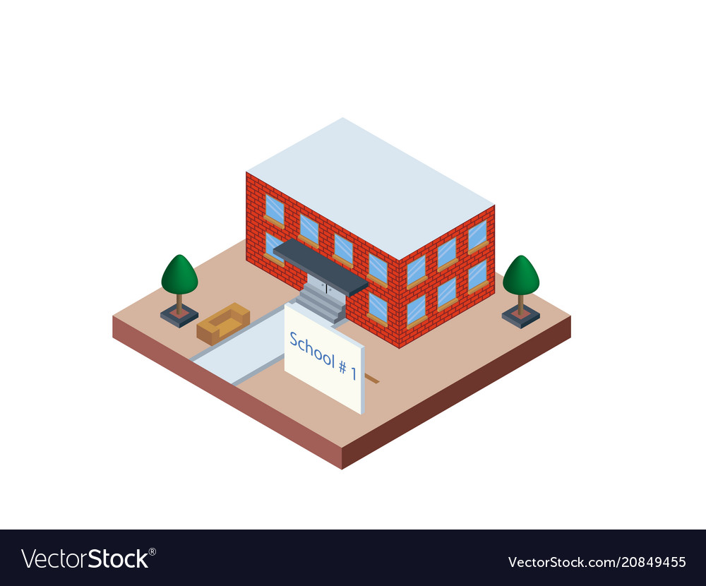 School building in isometric projection necessary