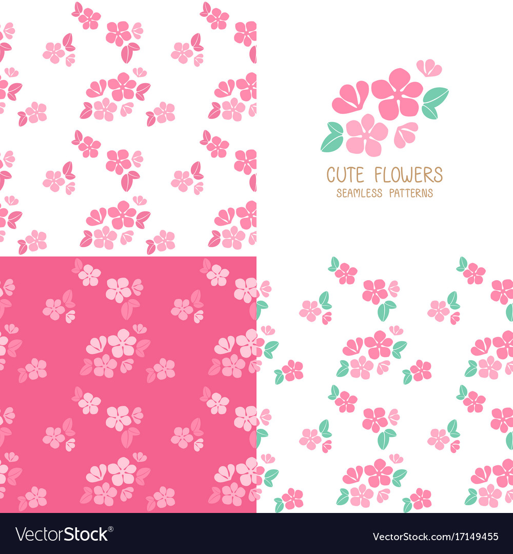 Set Of Seamless Pink Flowers Patterns Royalty Free Vector
