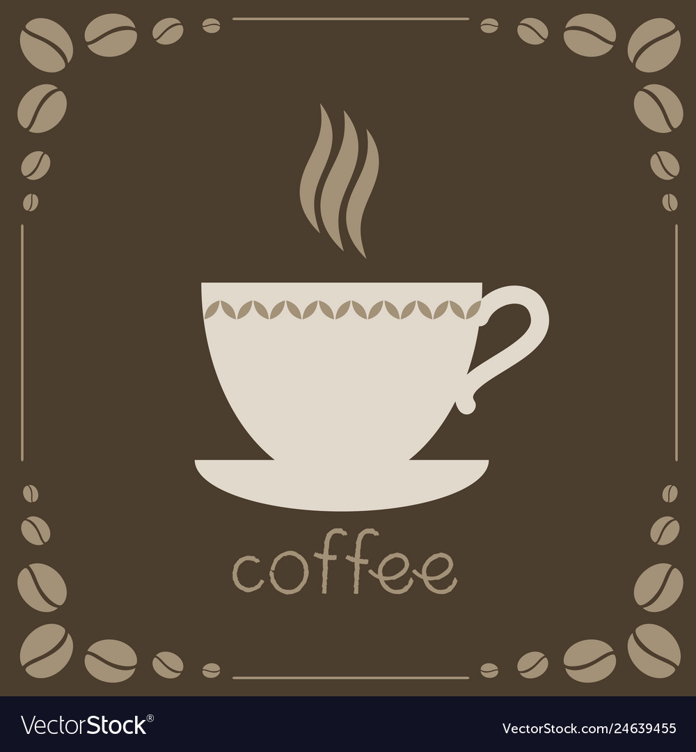 Sign of coffee on brown background