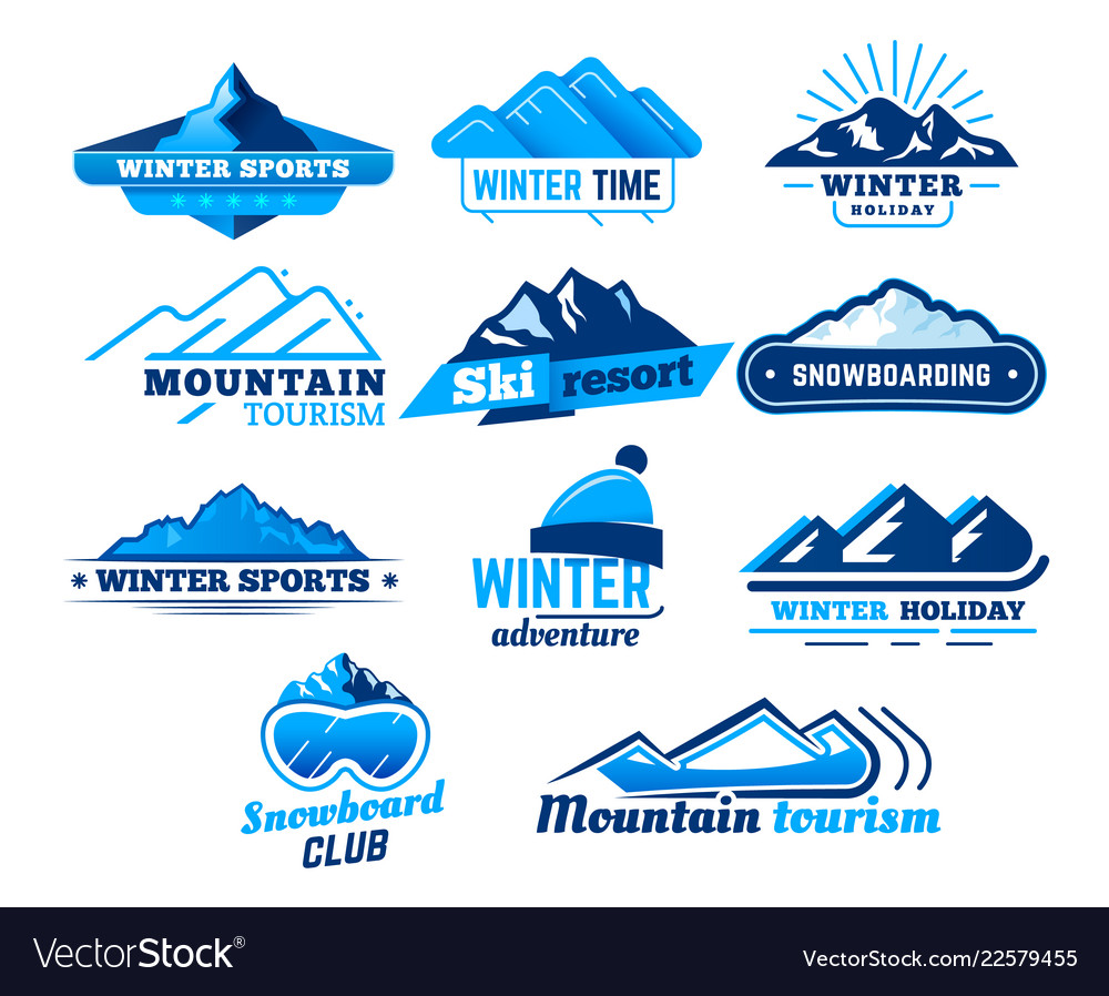 Snow mountain sign winter landscape logo