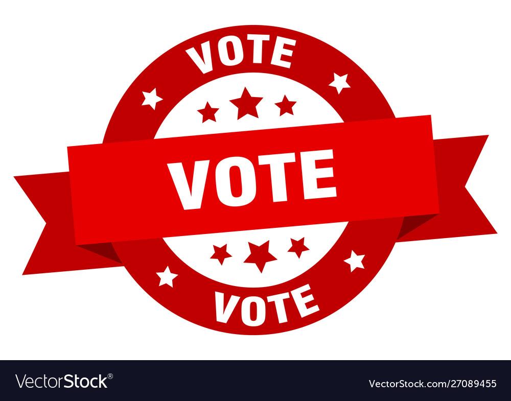 Vote ribbon vote round red sign vote