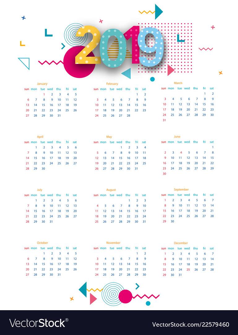 2019 calendar calendar poster of modern design