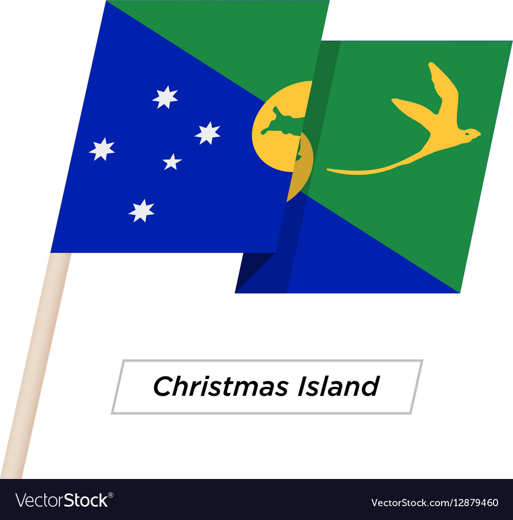 Christmas Island Ribbon Waving Flag Isolated on vector image