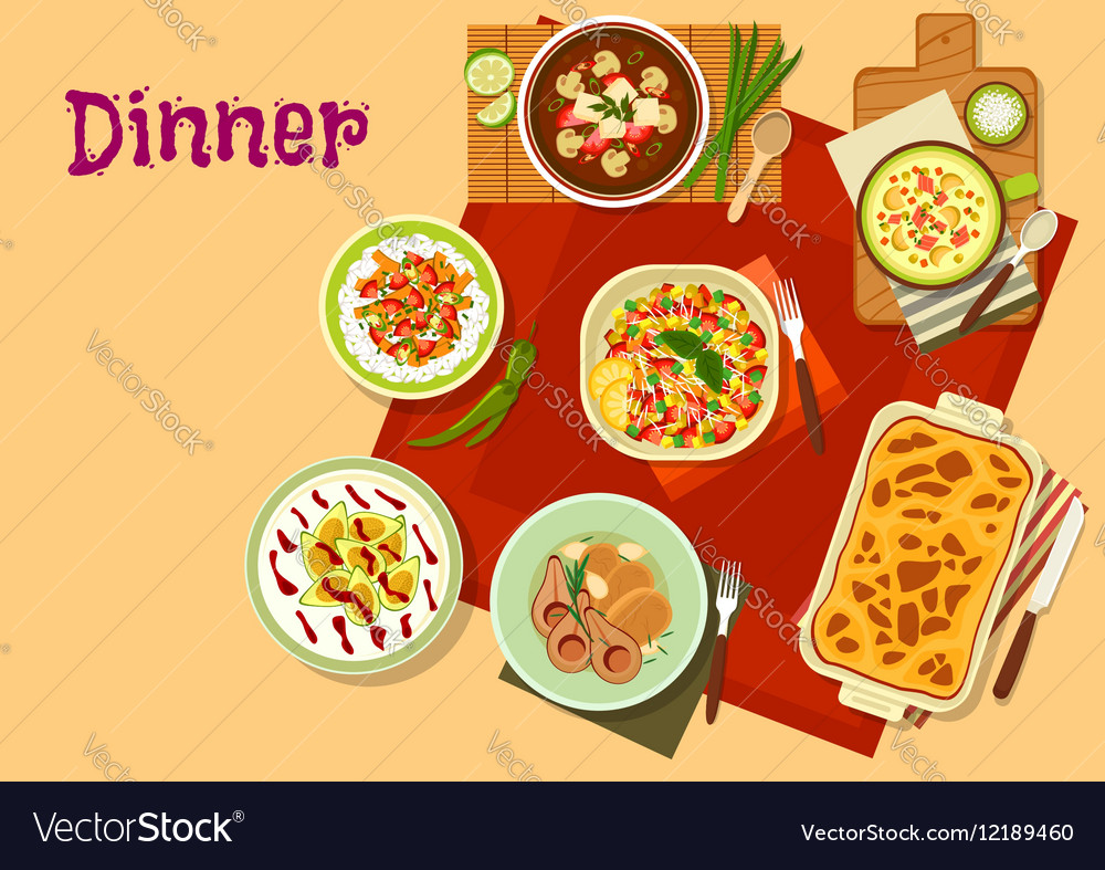Dinner dishes top view icon for menu design