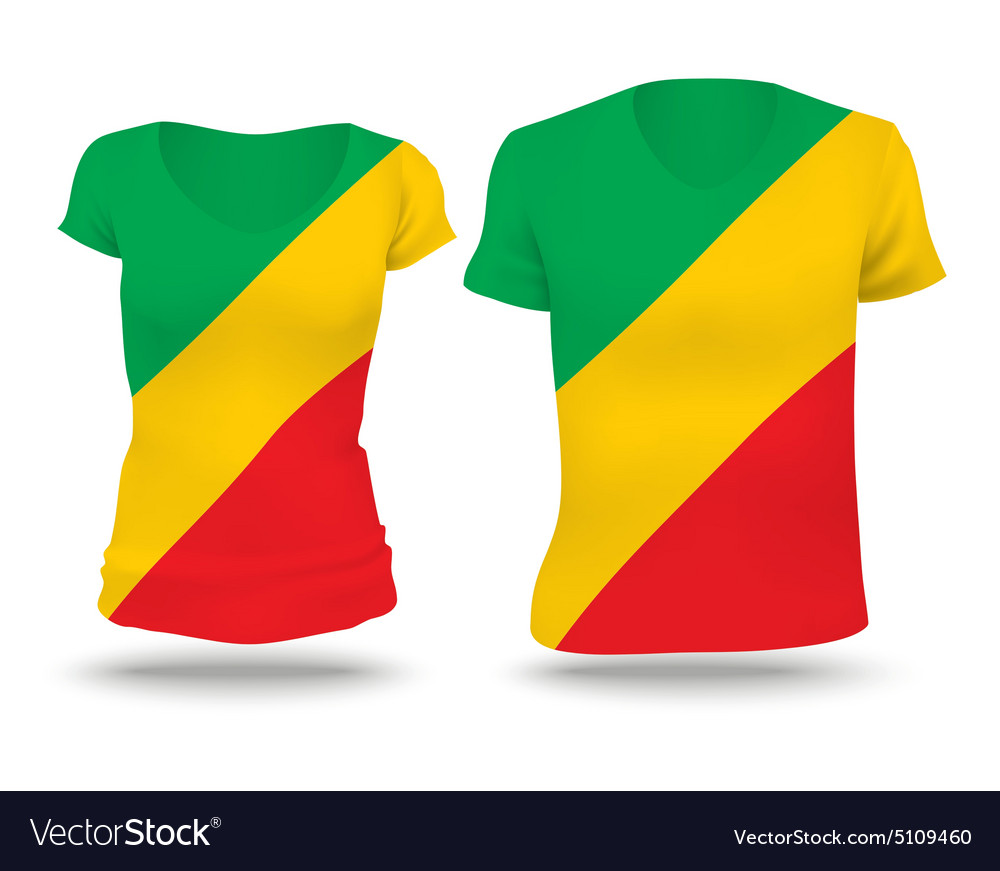 Flag shirt design of Republic of Congo vector image