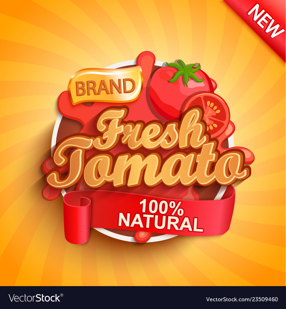 Fresh tomato logo label or sticker