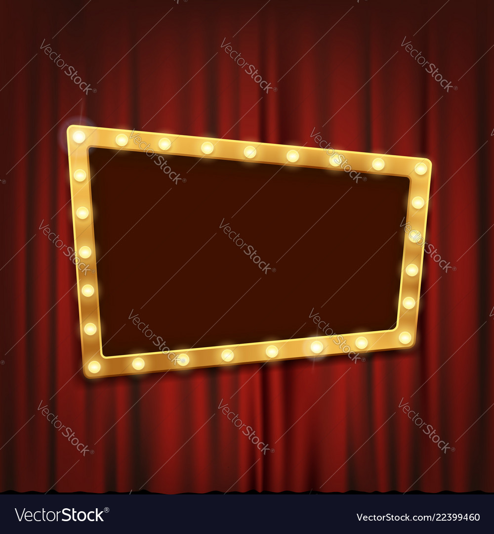 Gold frame with light bulbs on the red curtain