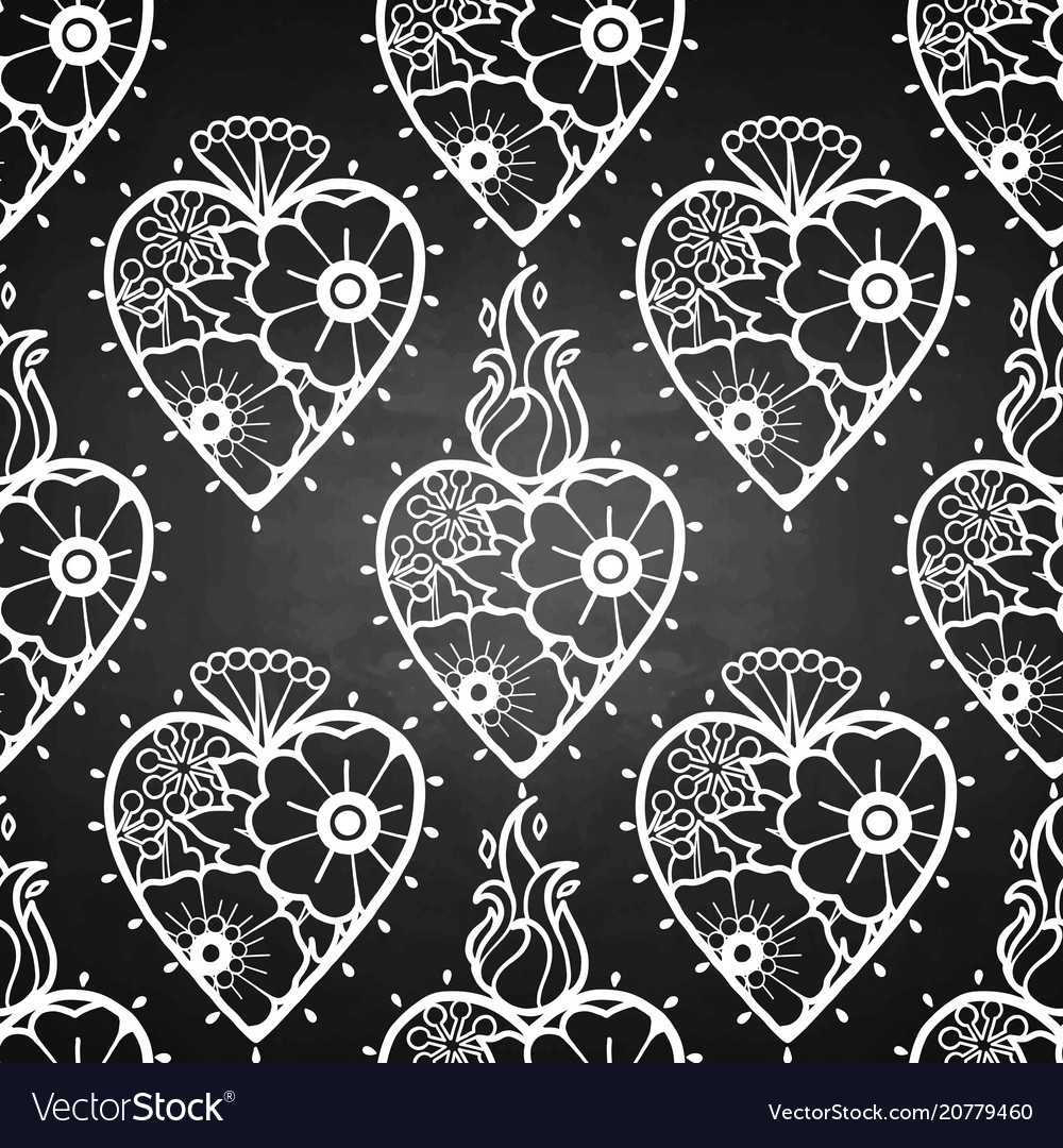 Graphic hearts with floral decorations
