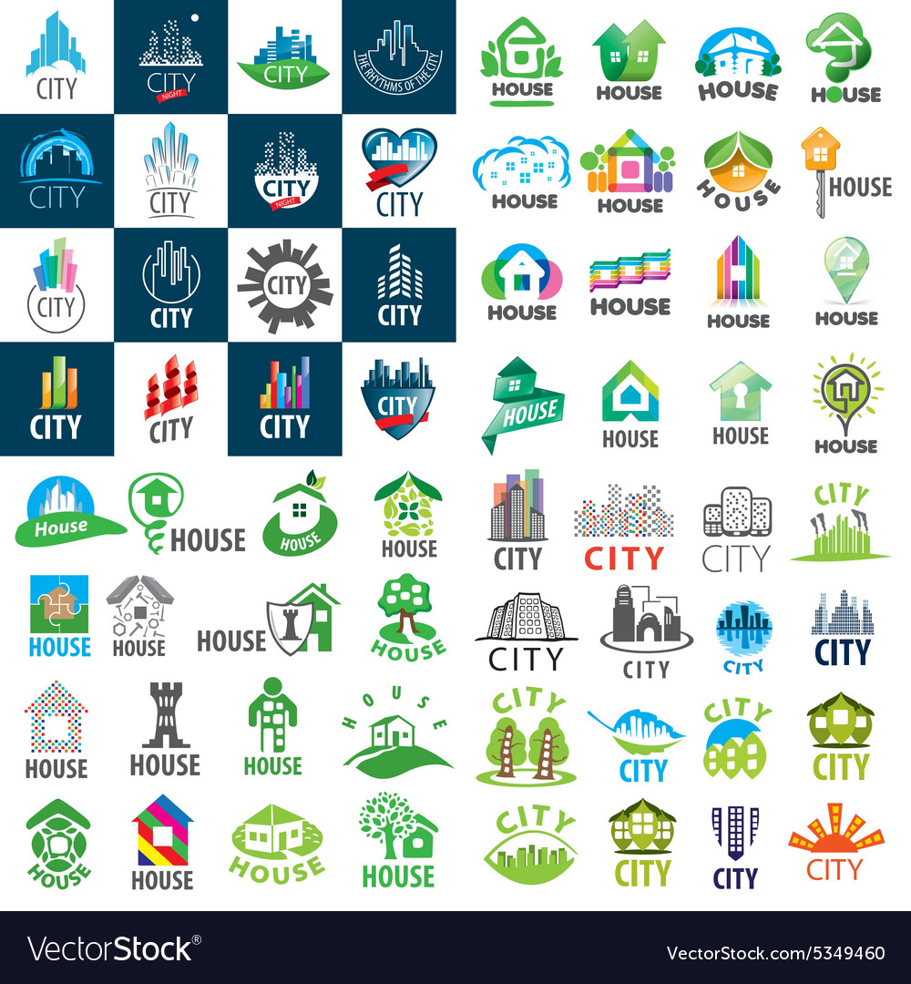 Large set of logos homes and cities