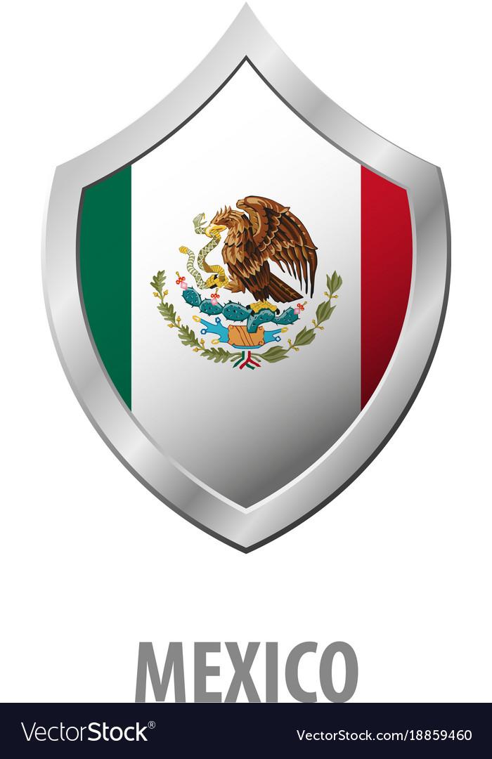 Mexico Flag On Metal Shiny Shield Royalty Free Vector Image