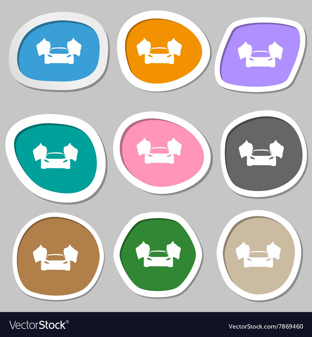 Sports Car Symbols Multicolored Paper Stickers Vector Image