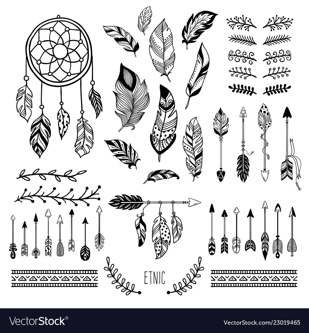 Boho art tribal arrow feather bohemian floral