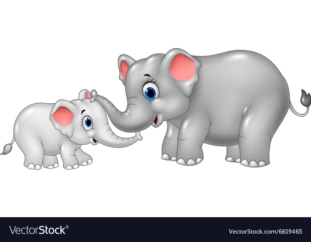 cartoon mother and baby elephant royalty free vector image