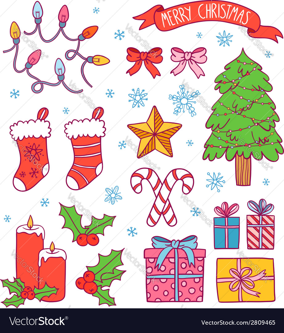 Christmas Symbols Collection Royalty Free Vector Image
