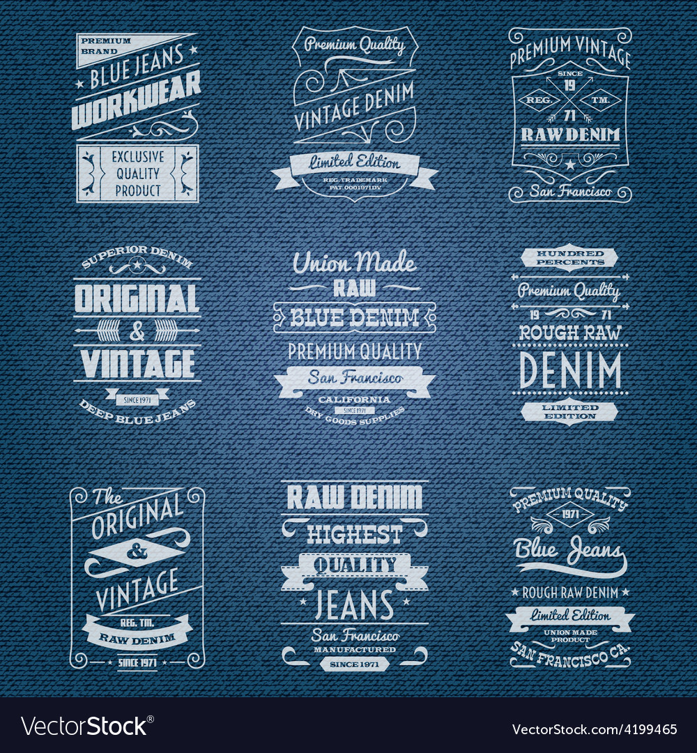 Denim jeans white typography labels