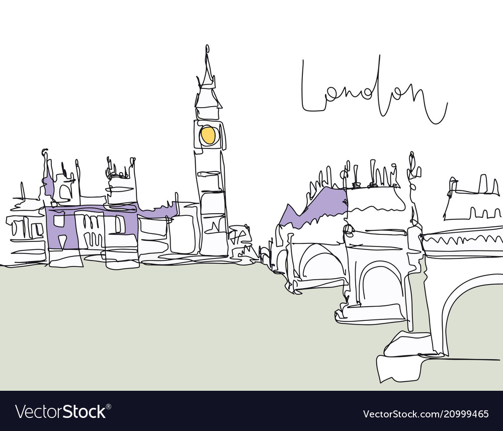 Digital drawing london bridge on river vector