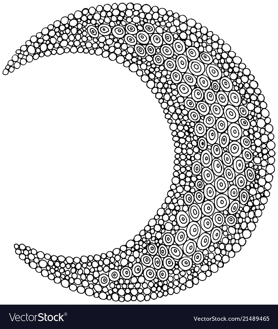 Doodle moon - coloring page for adults and Vector Image