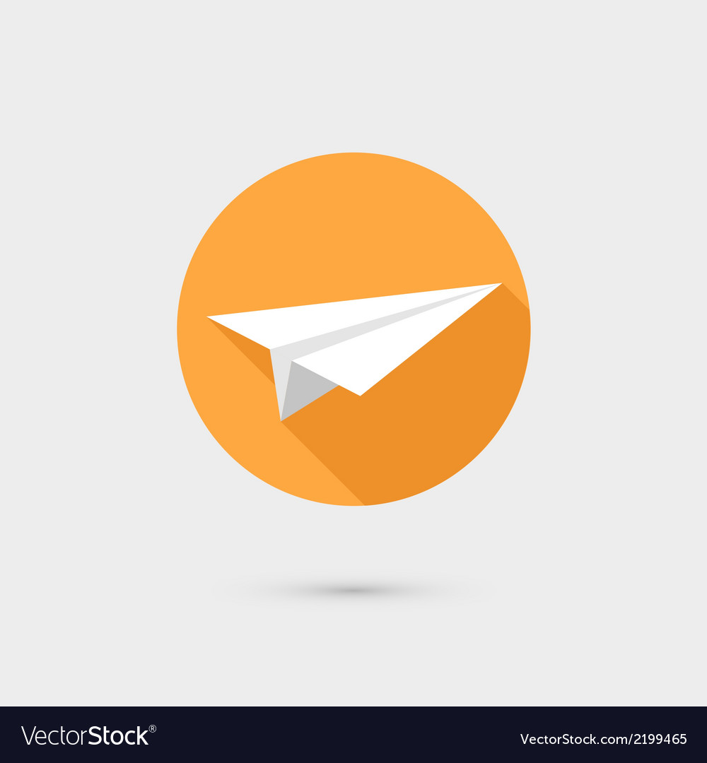 Flying paper airplane symbol icon flat design