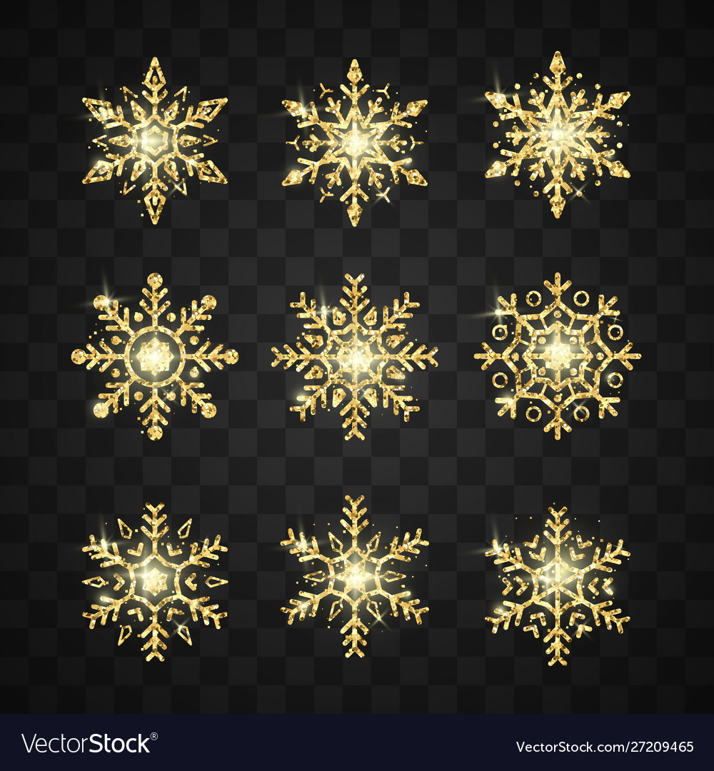 Golden snowflake set new year and christmas