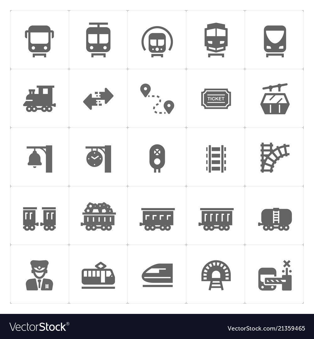 Icon set - train and transportation filled icon st