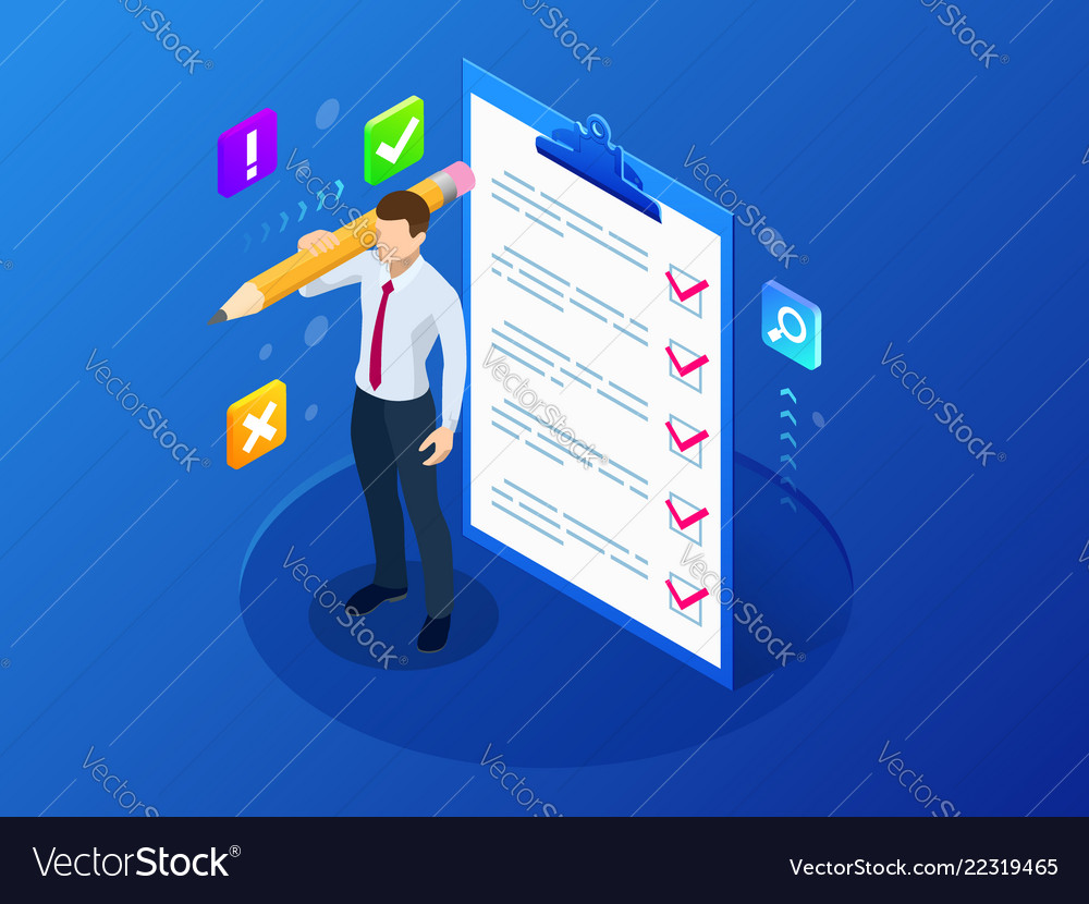 Isometric businessman with checklist and to do