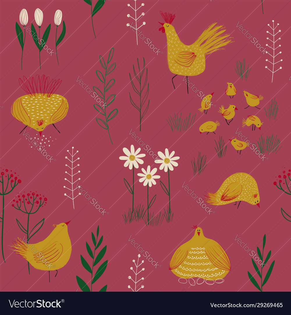 Seamless pattern with chickens and flowers