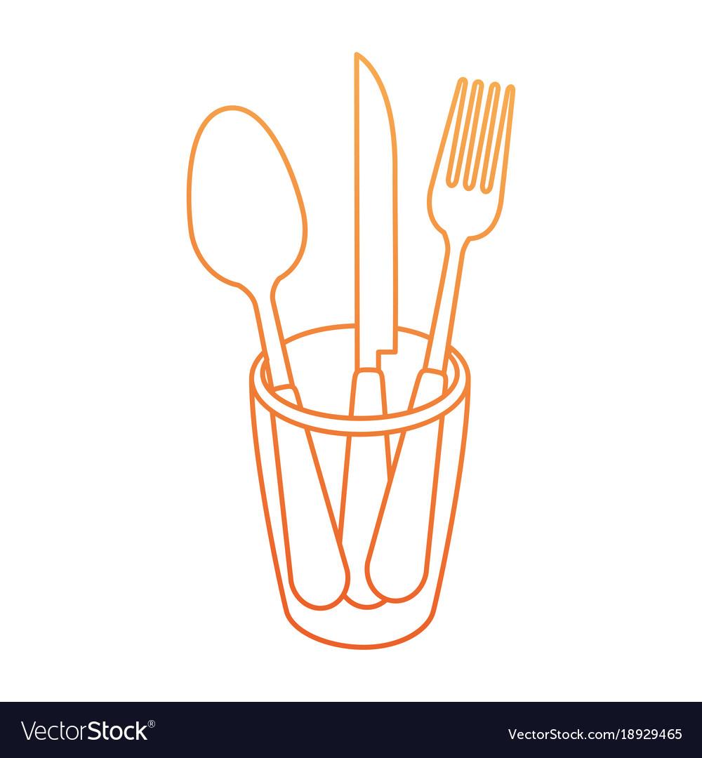 Set cutlery tools in cup vector image