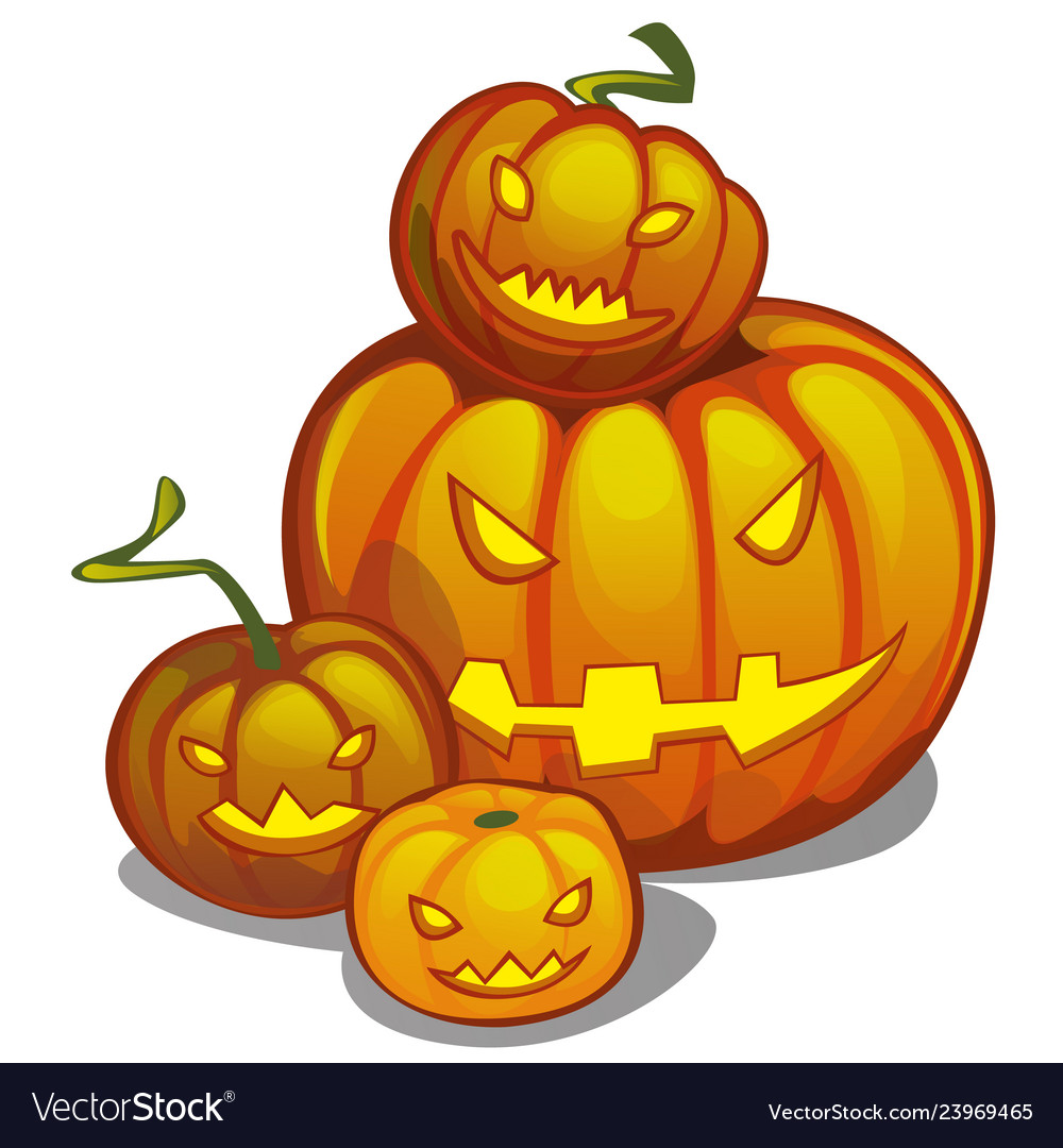 Set of ripe pumpkin with carved eyes and mouth